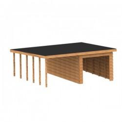 Garaż szkieletowy drewniany 350x550 z drewutnią